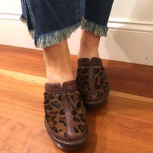 Born calf hair leopard clogs. Size 8